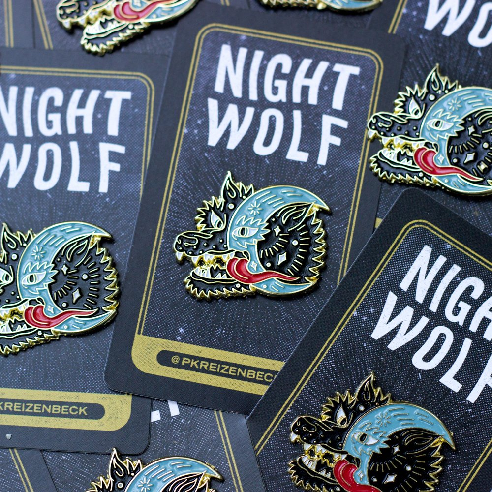 Night Wolf Enamel Pin by Paul Kreizenbeck